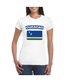 T shirt met curacaose vlag wit dames