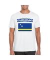 T shirt met curacaose vlag wit heren