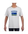 T shirt met curacaose vlag wit kinderen