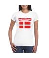 T shirt met deense vlag wit dames