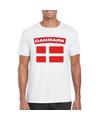 T shirt met deense vlag wit heren