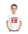 T shirt met deense vlag wit kinderen