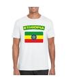T shirt met ethiopische vlag wit heren