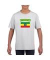 T shirt met ethiopische vlag wit kinderen