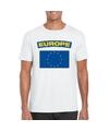 T shirt met europese vlag wit heren