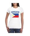 T shirt met filipijnse vlag wit dames