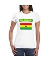 T shirt met ghanese vlag wit dames