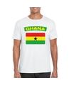 T shirt met ghanese vlag wit heren