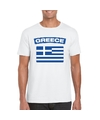 T shirt met griekse vlag wit heren