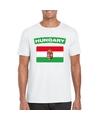 T shirt met hongaarse vlag wit heren