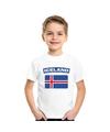 T shirt met ijslandse vlag wit kinderen
