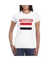 T shirt met jemenitische vlag wit dames