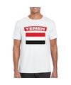 T shirt met jemenitische vlag wit heren