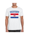 T shirt met kroatische vlag wit heren