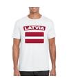 T shirt met letlandse vlag wit heren