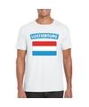 T shirt met luxemburgse vlag wit heren