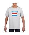 T shirt met luxemburgse vlag wit kinderen