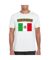 T shirt met mexicaanse vlag wit heren