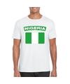 T shirt met nigeriaanse vlag wit heren