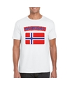 T shirt met noorse vlag wit heren