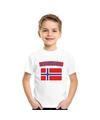 T shirt met noorse vlag wit kinderen