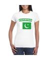 T shirt met pakistaanse vlag wit dames