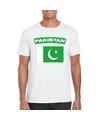 T shirt met pakistaanse vlag wit heren
