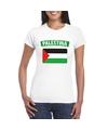 T shirt met palestijnse vlag wit dames