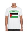 T shirt met palestijnse vlag wit heren