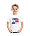 T shirt met panamese vlag wit kinderen