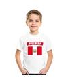 T shirt met peruaanse vlag wit kinderen