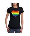 T shirt met regenboog vlag in hart zwart dames