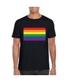 T shirt met regenboog vlag zwart heren