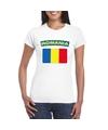 T shirt met roemeense vlag wit dames