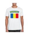 T shirt met roemeense vlag wit heren