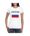 T shirt met russische vlag wit dames