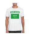 T shirt met saudi arabische vlag wit heren