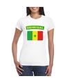 T shirt met senegalese vlag wit dames