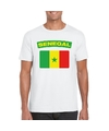 T shirt met senegalese vlag wit heren
