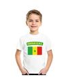 T shirt met senegalese vlag wit kinderen