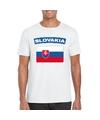 T shirt met slowaakse vlag wit heren