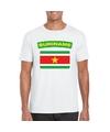 T shirt met surinaamse vlag wit heren