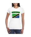 T shirt met tanzaniaanse vlag wit dames