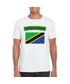 T shirt met tanzaniaanse vlag wit heren