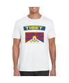 T shirt met tibetaanse vlag wit heren