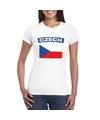 T shirt met tsjechische vlag wit dames