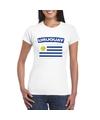 T shirt met uruguayaanse vlag wit dames