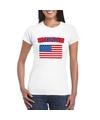 T shirt met usa amerikaanse vlag wit dames