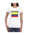 T shirt met venezolaanse vlag wit dames