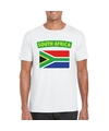 T shirt met zuid afrikaanse vlag wit heren